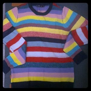 Georgia May Jagger X Volcom collab rainbow sweater